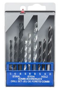 9pc HSS, Masonry & Wood Drill Set